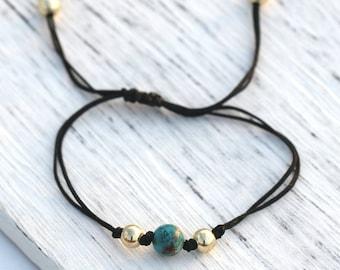 Dainty King Stone Bracelet 14K Gold Fill Minimalist Jewelry