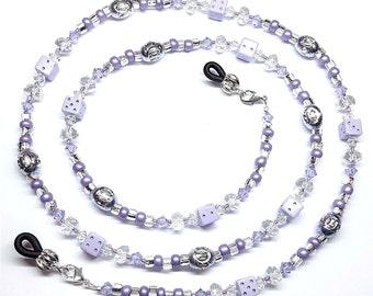 Purple Dice Violet Swarovski Crystal Eyeglass Chain Holder