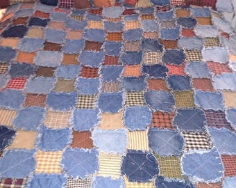 California King patchwork size rag quilt, recycled denim and homespun fabric, handmade, reversible, made to order, pillows NOT included