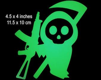 Cute AK47 Little Grim Reaper Glow in the Dark Decal / Sticker - Kawaii - Macbooks, iPhones, iPad, Tablet, Halloween, Car Windows