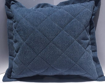 Blue Quilted Pillow cover  21x20