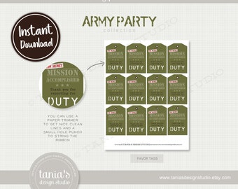 Army - Toy Soldier - Favor Tags - Instant Download - by Tania's Design Studio