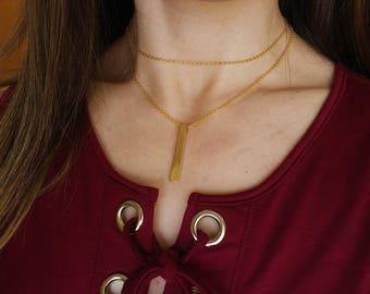 Layered gold chain bar choker necklace