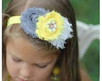 Gray and yellow headband- toddler headband- birthday headband- photo prop-