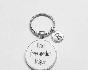 Initial Keychain, Best Friend Gift, Best Friend Keychain, Sister From Another Mister, Sister Gift, Choose Initial Keychain