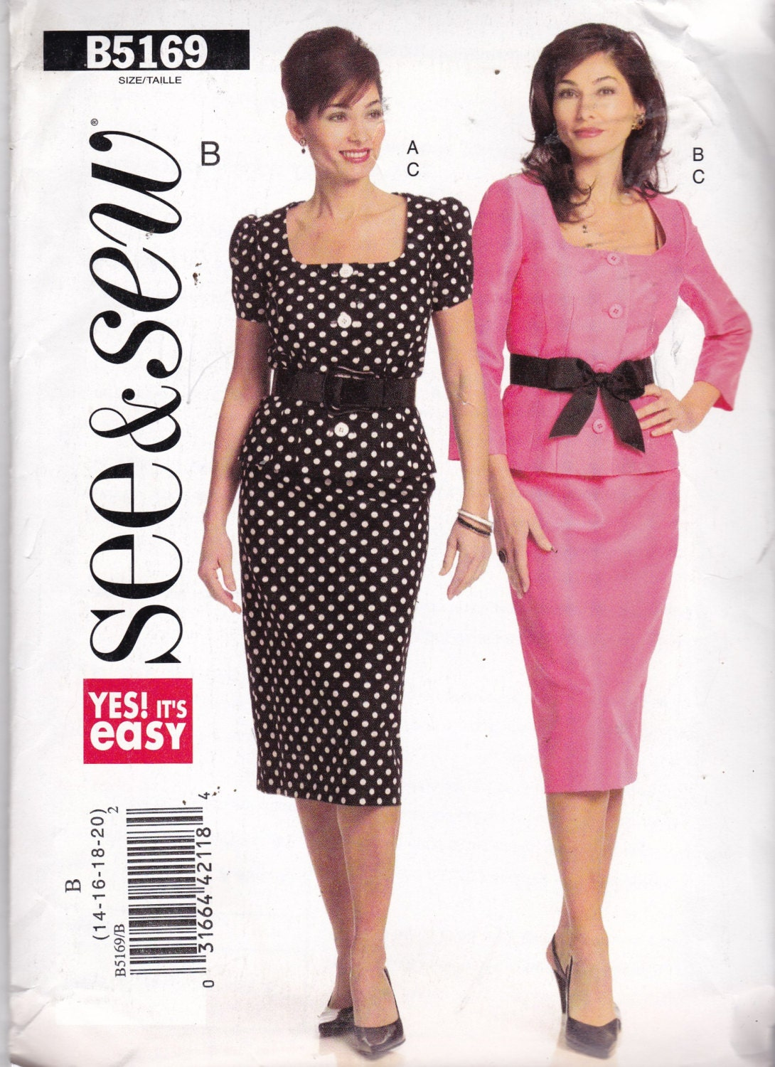 d3dc480ee55e4 See and Sew 5169 Vintage Pattern Womens Top and Skirt Size 14