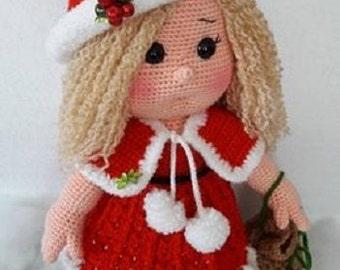 LITTLE MISS SANTA-Amigurumi Crochet Pattern-Pdf