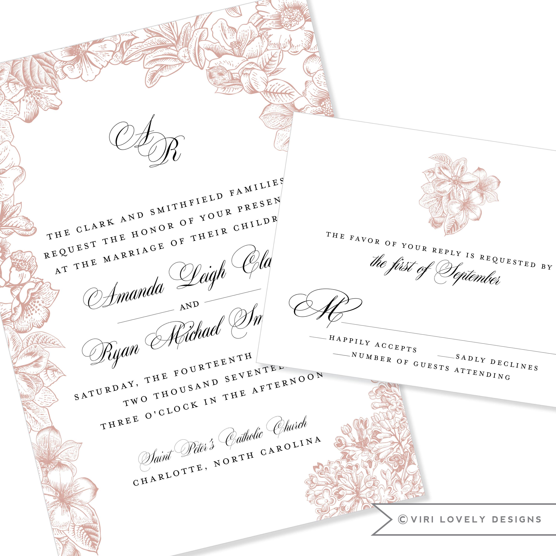 Floral / Botanical Wedding Invitation DIY Option Available