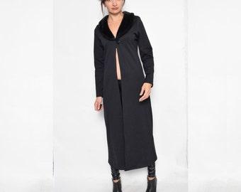 Vintage 90's  Black Long Sweater / Fur Collar Sweater - Size Medium