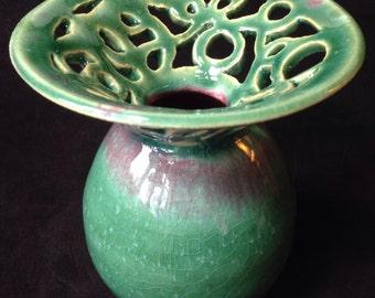Green Vase, Carved Vase, Handmade Green Vase