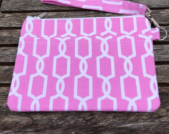 Pink  Wristlet Wallet ,Pouch, Wallet, Coin Purse