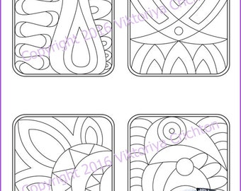 Strings for drawing zentangles_17. Zentangle starter pages. Tangle pattern printable string, PDF.