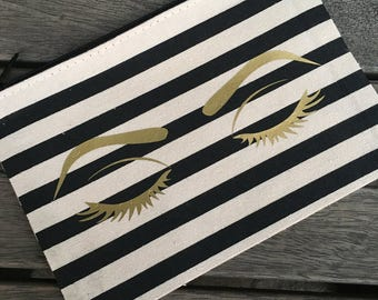 Gold Eyes Striped Make Up Bag, Cosmetic Pouch