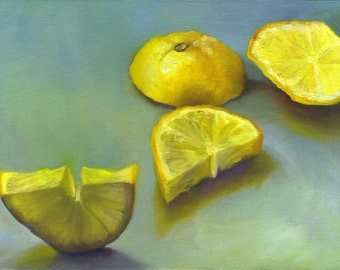 Lemon Zest - archival fine art giclee print of still life oil painting / Kitchen Wall Art / Home Decor / food art