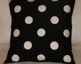SALE NEW TWO 18  x 18   Black and White Polka Dot Pillow Covers