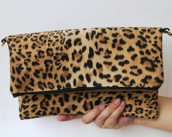 Leopard leather clutch bag, Personalize Clutch,Leather leopard Clutch, leopard clutch, Suede clutch, leopard , CYBER MONDAY