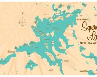 Squam Lake, NH Map Print