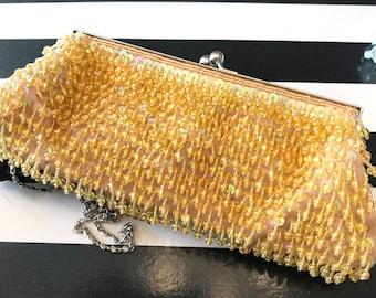 Yellow Beaded Evening Bag, Roaring 20's Gatsby Bag, Sequined Beaded Clutch Purse, Yellow Clutch Purse, Silk Beaded Purse