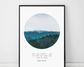 Foggy Forest, Foggy Forest, Circle Forest Print, Forest Photography, Circle Print, Misty Forest, Scandinavian, John Muir Quote, Nordic Art