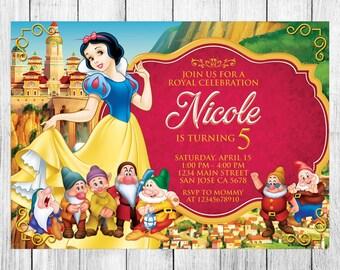 Snow White Invitation, Snow White Birthday Invitation, Snow White Birthday Party, Snow White Thank You Card, Personalized, Digital File
