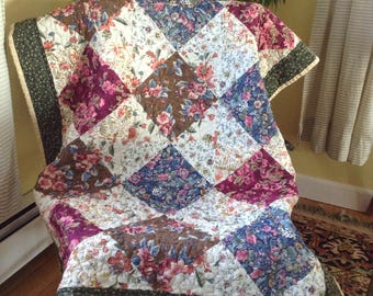 Floral diamonds crib lap or baby patchwork quilt