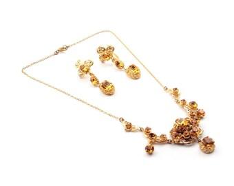Vintage Czech necklace earring set amber glass rhinestones enamel painting