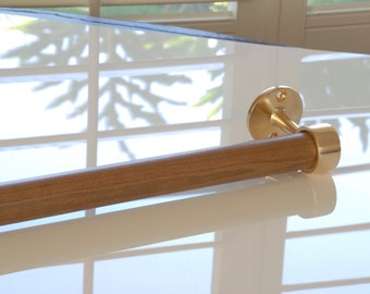 Brushed / Satin Brass and Black Cherry Towel Bar