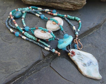 Hand of Indian Creek - Stoneware Feather Shape Pendant with Hand Imprint, Aqua Terra, Turquoise, Glass Beads and Copper Necklace