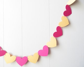 Yellow Gold and Hot Pink Heart Garland / Wedding Decoration / Love Bunting / Anniversary Decor / Photo Prop / Adjustable Hand Sewn