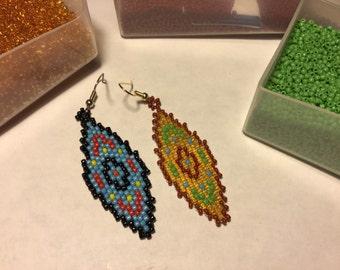 Native American Earrings, Blue, Amber