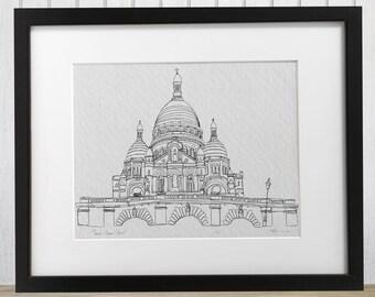 Sacre-Coeur Paris Doodle Print