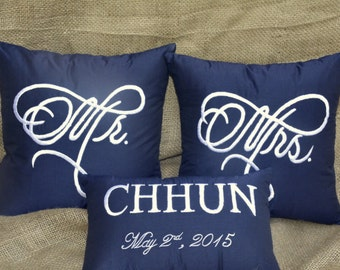 30% OFF Mr and Mrs, His and Hers Custom Pillows with Name and Wedding Date Personalized Wedding Decor Anniversary Couple Love Gift