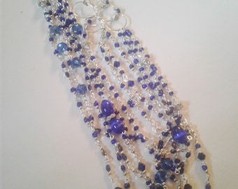 cobalt blue, silver and white necklace