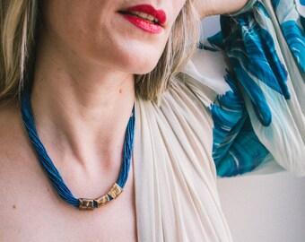 Boho Statement Necklace, Soft Rayon Fiber and Hand Cast Bronze Minimalist Necklace, Bold Capri Blue Metallic Layering Necklace