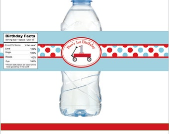 Little Red Wagon Personalized Water Bottle Labels -- Set of 15 Labels