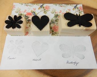 Rubber Stamp Set, Flower Stamp, Butterfly Stamp, Heart Stamps, Upcycled Crafting Tools, Textured Stamp, Floral Stamp