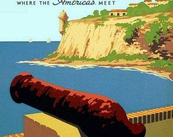 Vintage Puerto Rico Tourism Poster  A3 Print