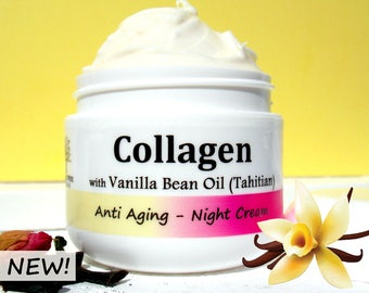 Vanilla & NonGMO Collagen + Hyaluronic Acid /Anti Aging/Wrinkle cream/ Face, Neck / Handmade Natural Skin Care