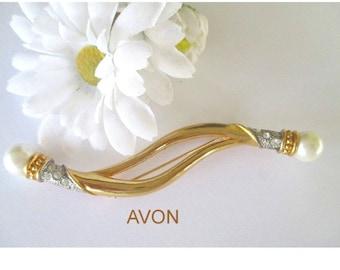 Avon Statement Pin * Faux Pearl Rhinestone Pin * Long Swag Brooch