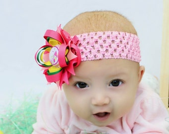 My First Easter Hair Bow - My First Easter Headband - Pink Green Yellow - Easter Hair Clip - Easter - Newborn Hair Bow - Infant Headband
