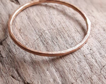 Delicate Rose Gold Ring - 1mm Rose Gold Stacking Ring - Minimalist Ring - Thin Gold Ring Band