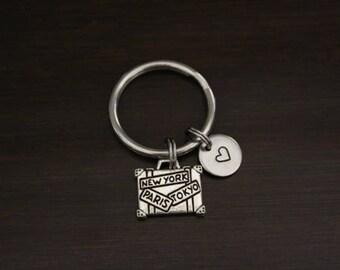 Suitcase Key Ring/ Keychain / Zipper Pull - World Traveler Gift- Flight Attendant Gift - Pilot Gift - Wanderer Gift -Luggage Keychain- I/B/H
