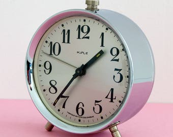 Mechanical Alarm Clock - by Kiple - Chrome with silver gray dial - Made in Czechoslovakia