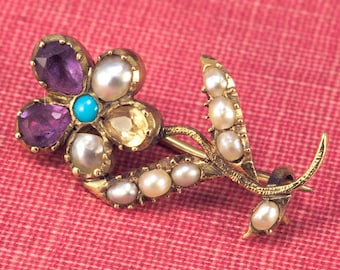 Antique Georgian English 15K Gold Pearl Turquoise Amethyst Forget-Me-Not Harlequin Brooch c1820