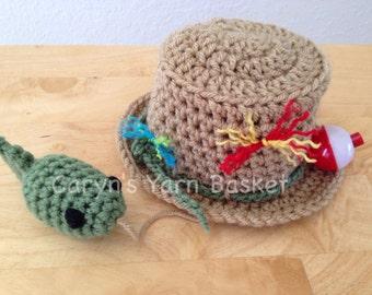Fishing Fisherman Hat & Fish, Newborn, 0-3, 3-6, Photography Prop - MADE TO ORDER