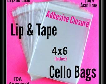 100 ( 4x6 ) Lip & Tape Cello Bags ..  Clear Bags, Self Sealing, Cello Bags, Adhesive Cello Bags, Adhesive 4x6 Sleeves