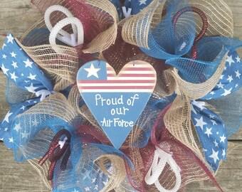 Military Wreath, Navy Wreath,  Air Force Wreath, Deco Mesh Wreath, Ribbon Wreath, Patriotic Wreath, Troops Wreath, Small Wreath