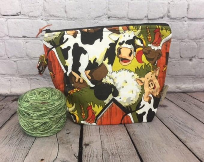 Autumn Farm Print w/ Full length pocket, Knitting project bag, Crochet project bag,  Zipper Project Bag, Yarn bowl