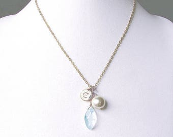 Bridesmaids bridal initial necklace jewelry gift, C letter charm necklace, gold letter coin with clear blue glass stone and off white pearl