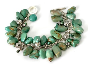 Turquoise and Silver Bracelet, Turquoise Pebbles on Sterling Chain Bracelet